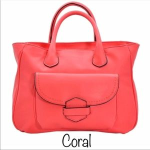 Handbags - Coral silver Soft Satchel Shoulder/ Crossbody bag